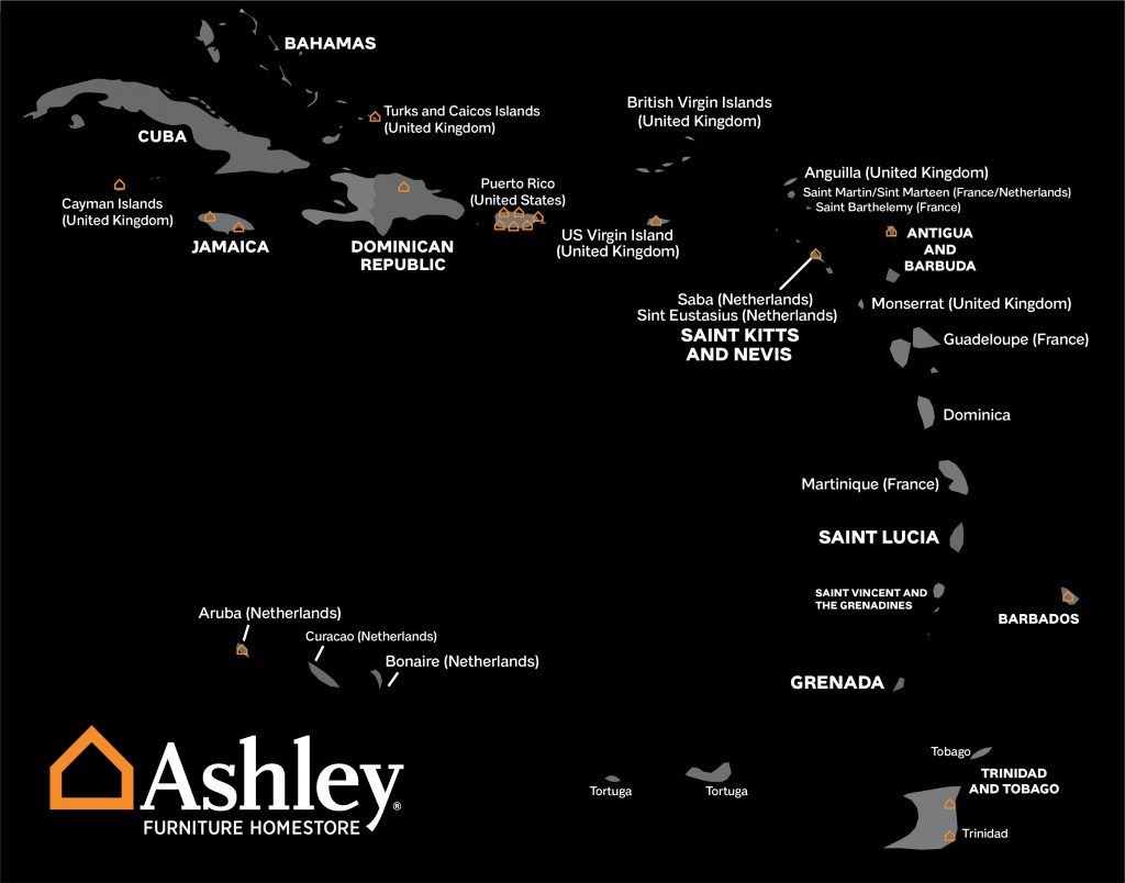 Map of Ashley Furniture locations in the Caribbean Islands