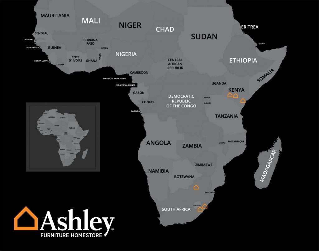 Map of the Ashley Furniture locations in Africa